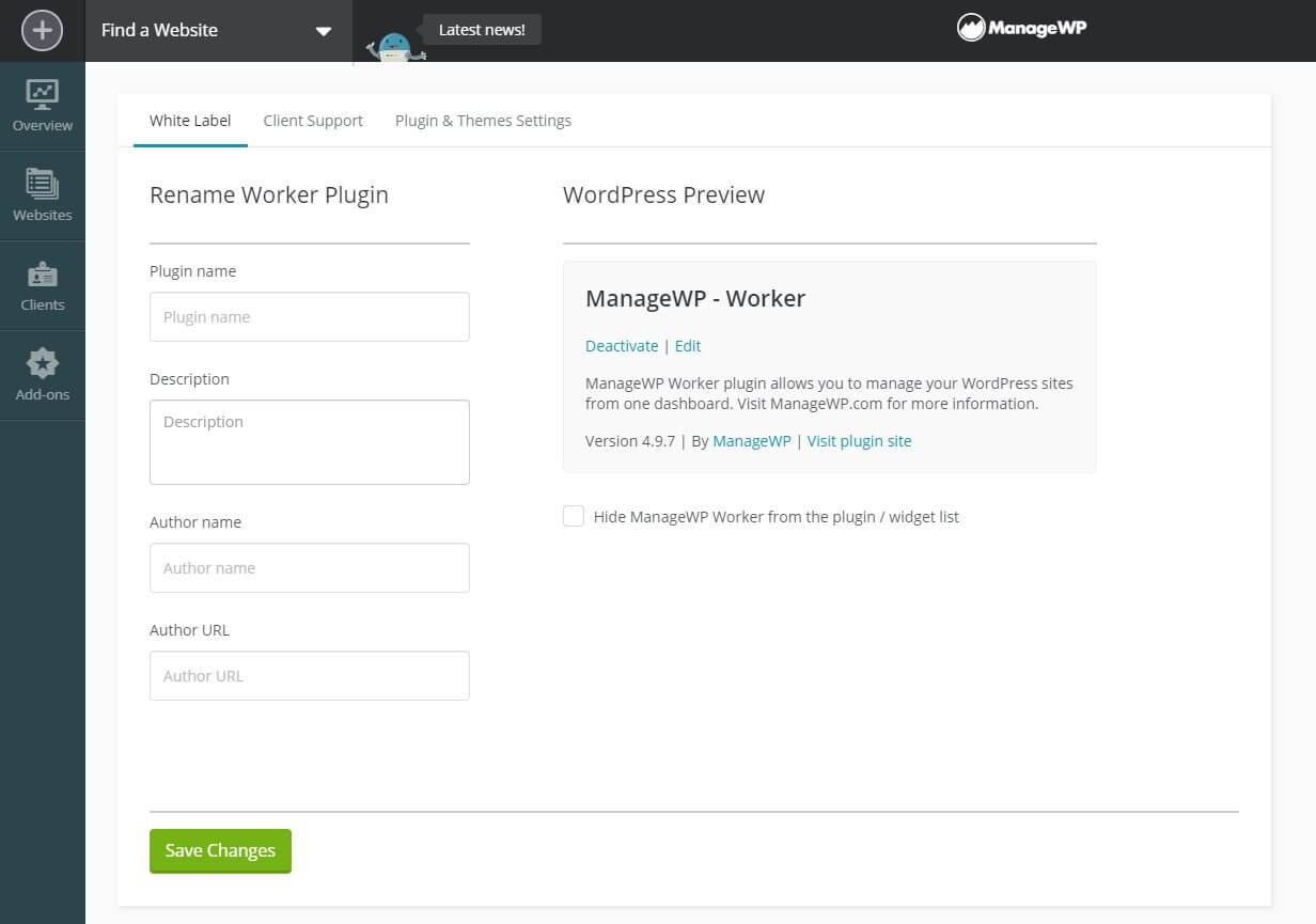 The first tab of ManageWP's White Label settings.