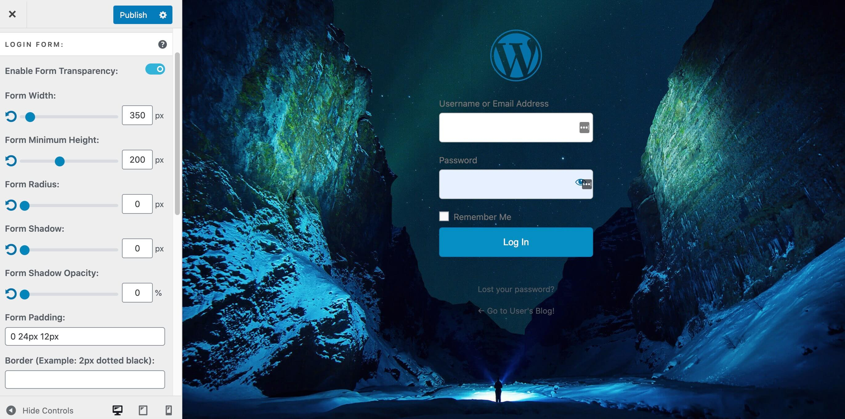 A custom WordPress login page featuring a transparent form.