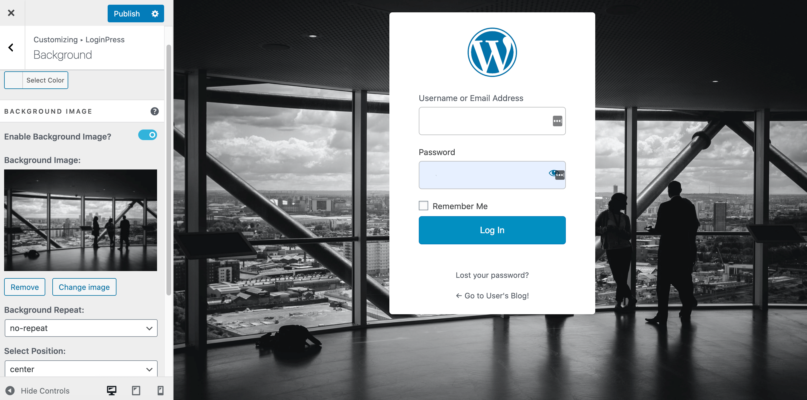 A custom WordPress login page created using LoginPress.