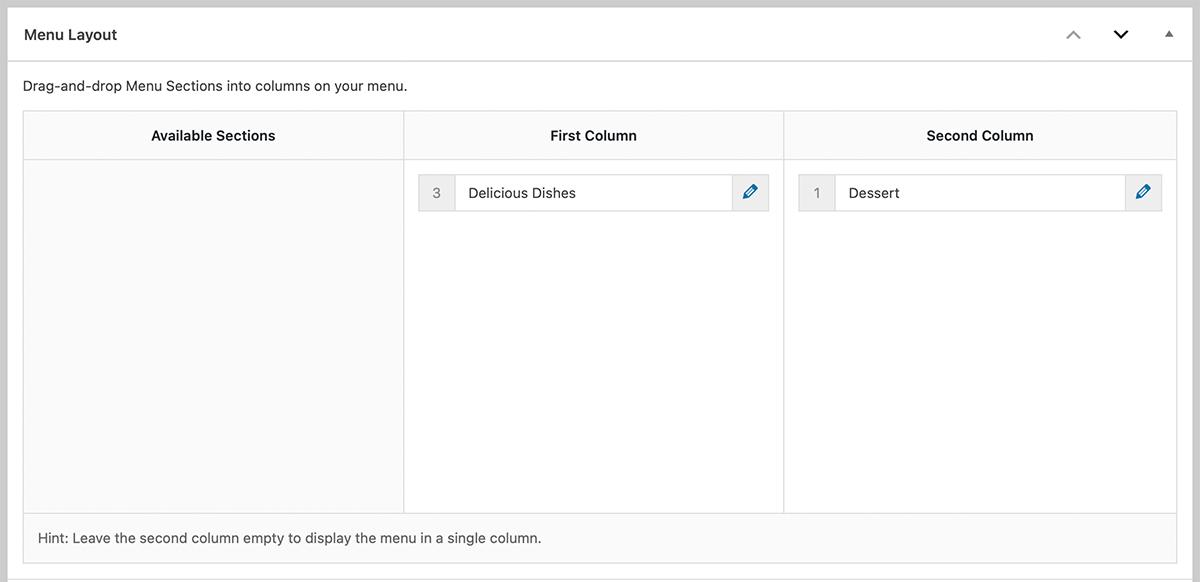 Menu layout options in WordPress Five Star Restaurant plugin.