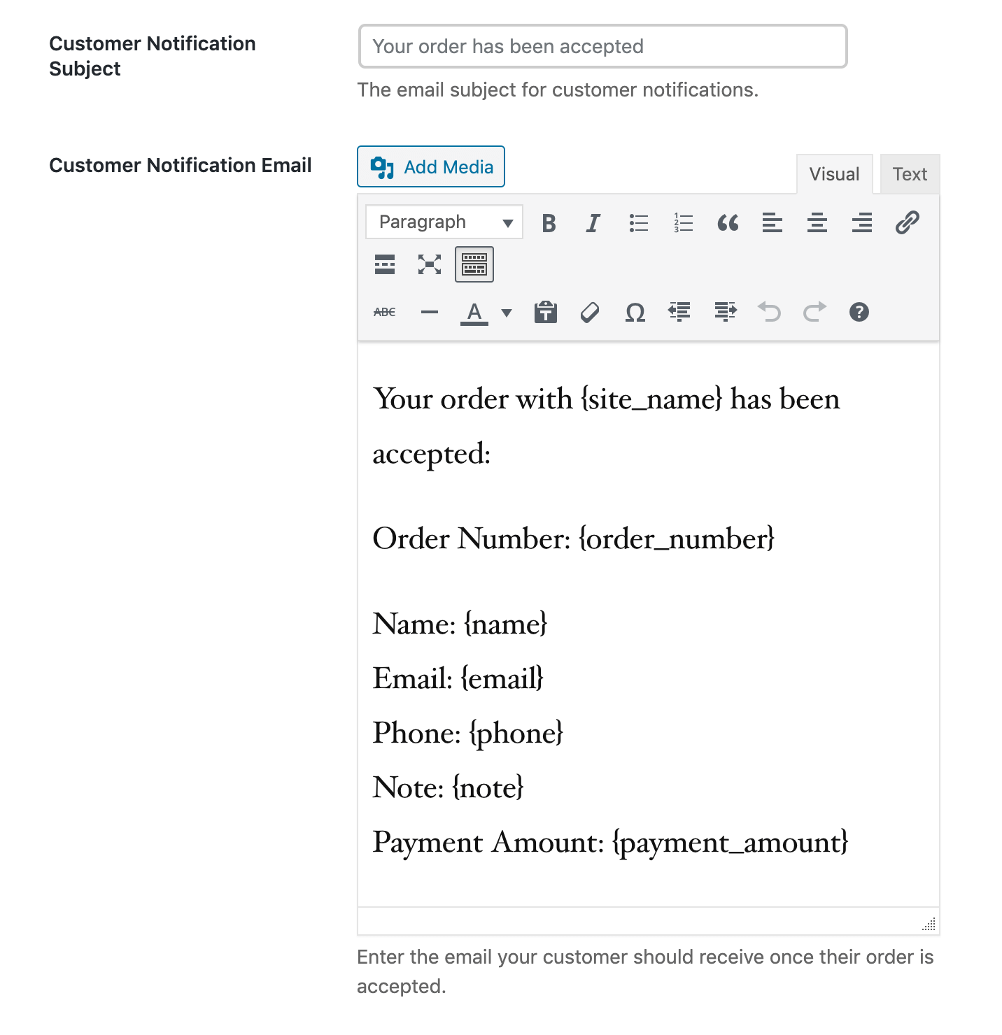 Creating a custom order notification email in Five Star Restaurant Menus.