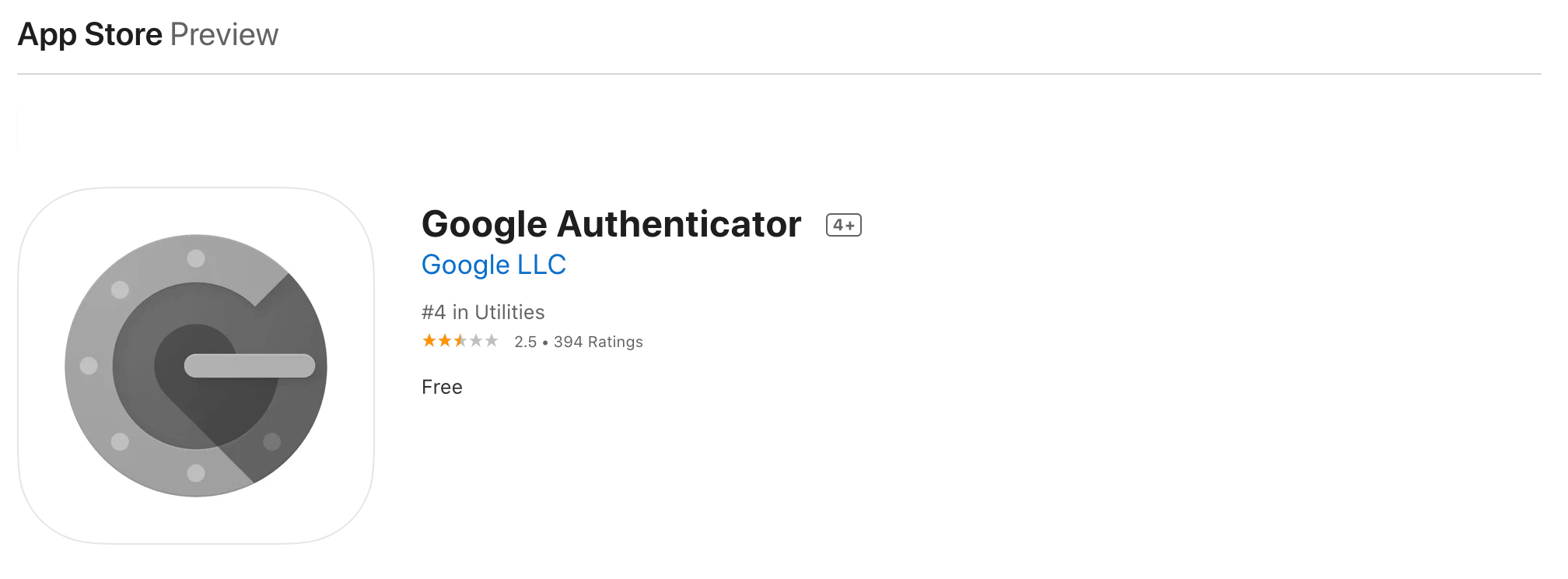 The Google Authenticator 2FA app.