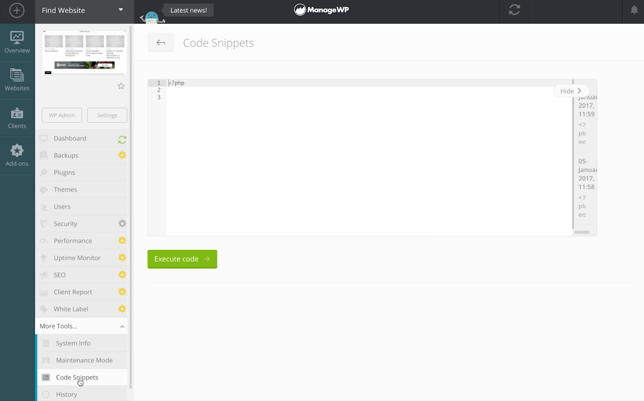 Inserting a pingback snippet in the ManageWP dashboard.