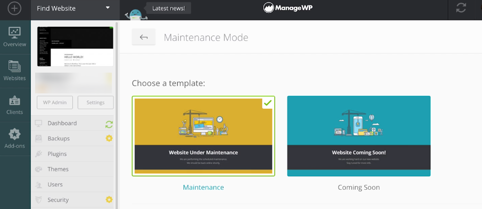 The ManageWP Maintenance Mode settings screen.