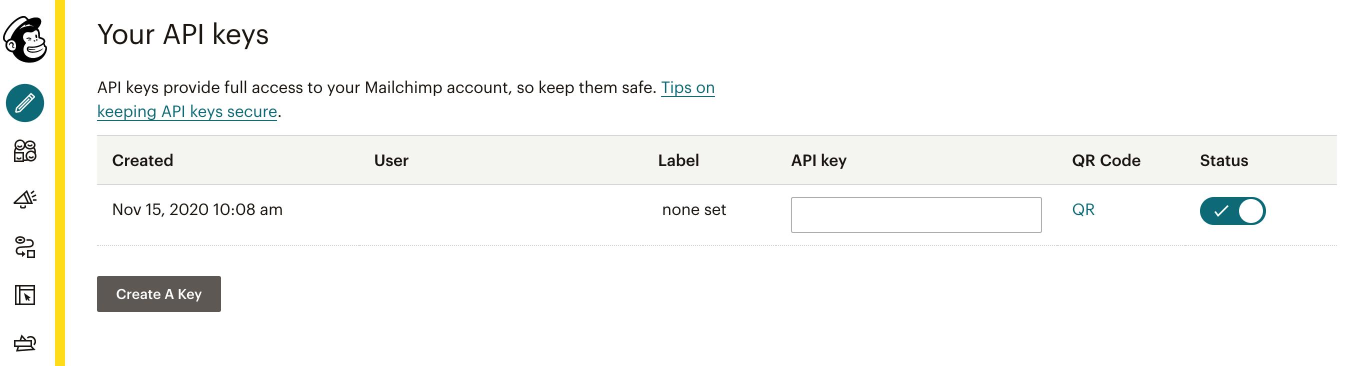 A Mailchimp API key.