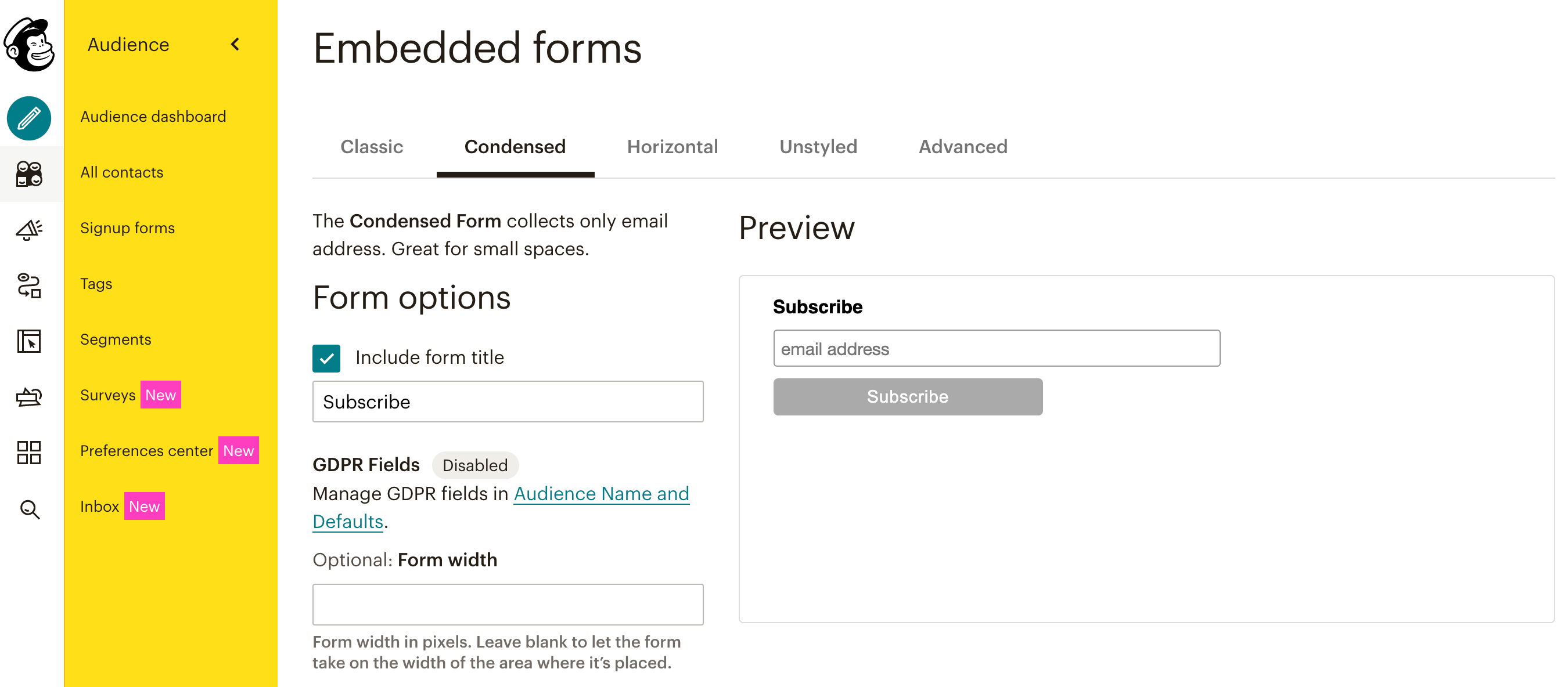 A Mailchimp signup form created with a condensed layout.