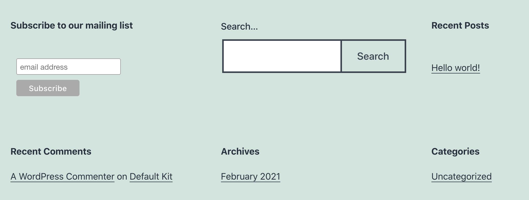 A Mailchimp signup form.