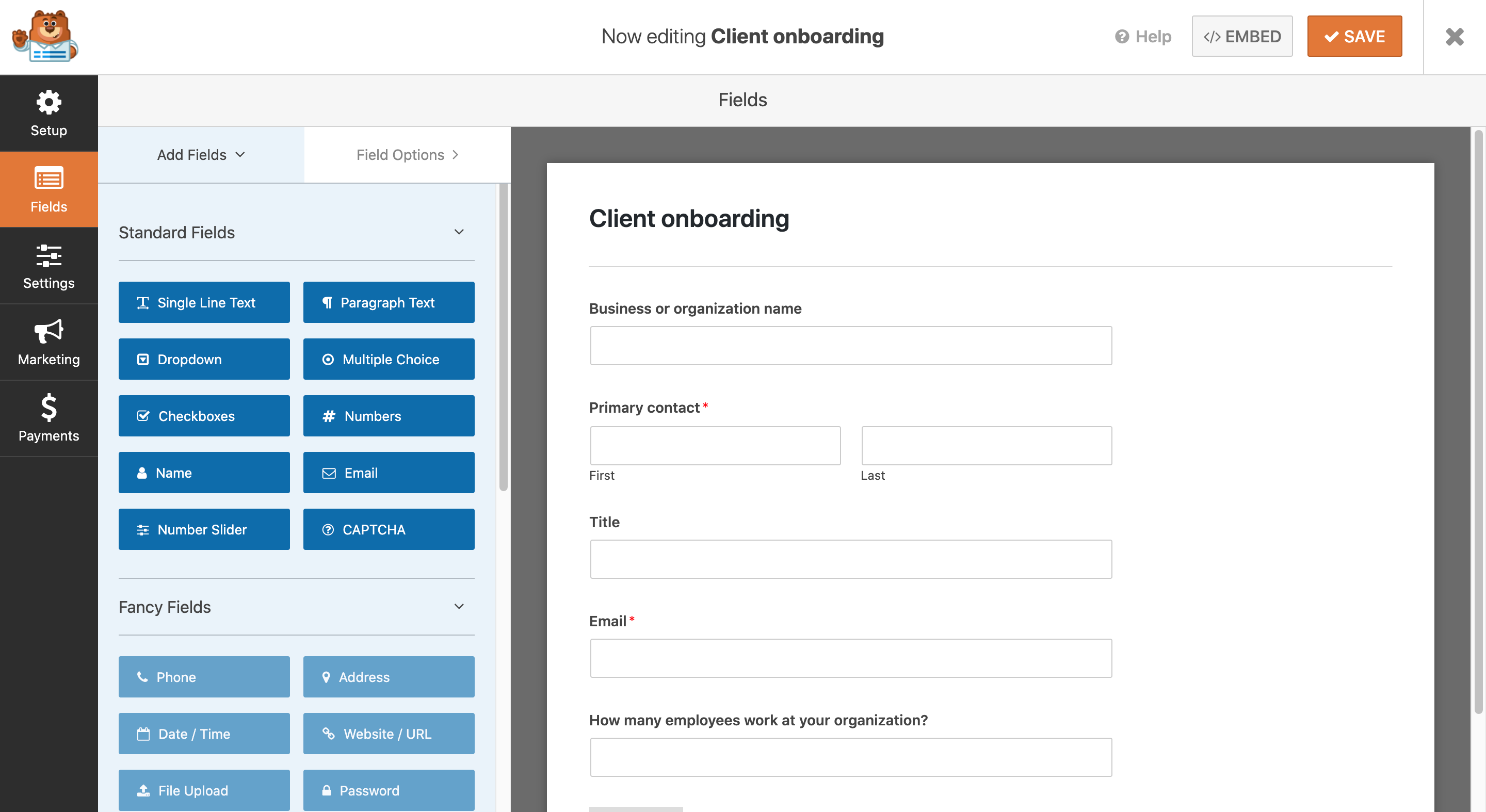 A client onboarding form created using WPForms.