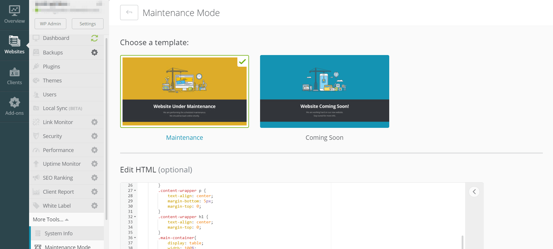 The maintence mode screen for ManageWP, a useful tool to help change your WordPress theme safely.