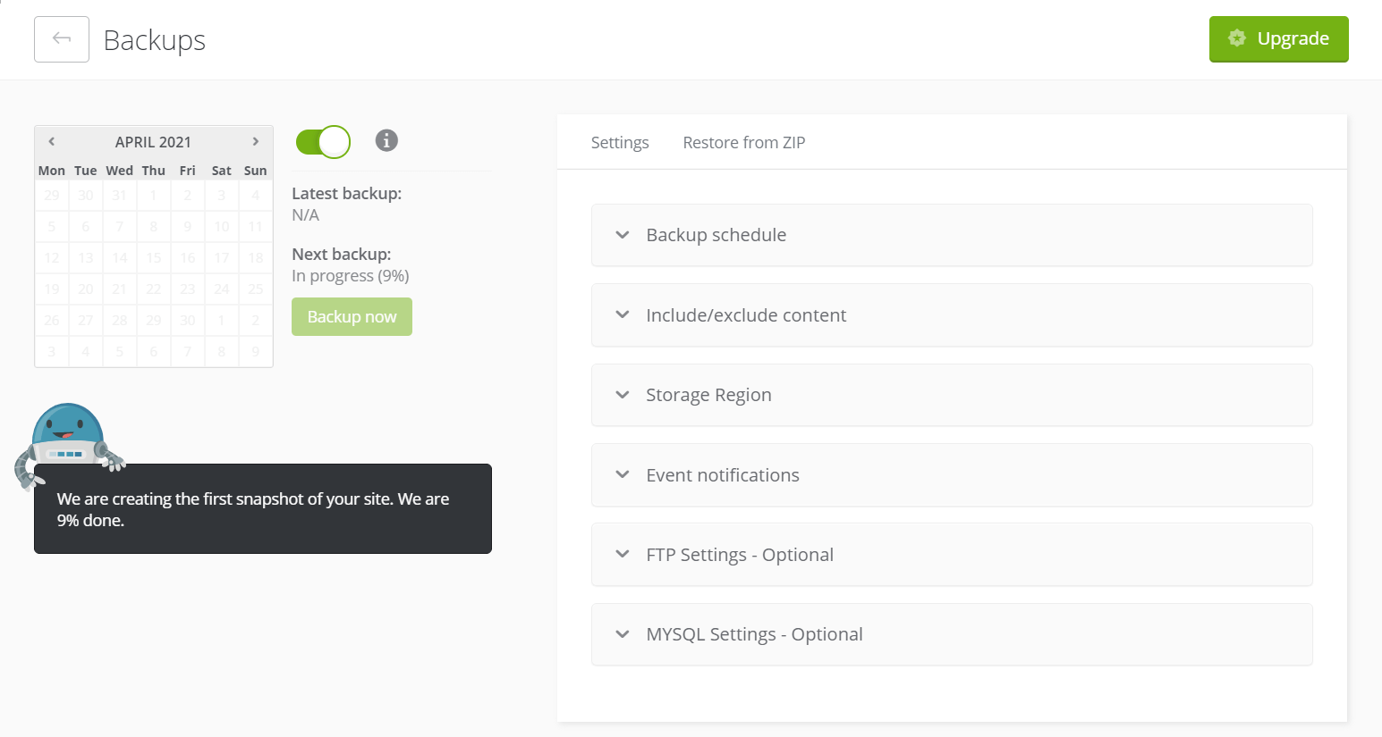 ManageWP's backup feature page, an essential step for changing your WordPress theme safely.