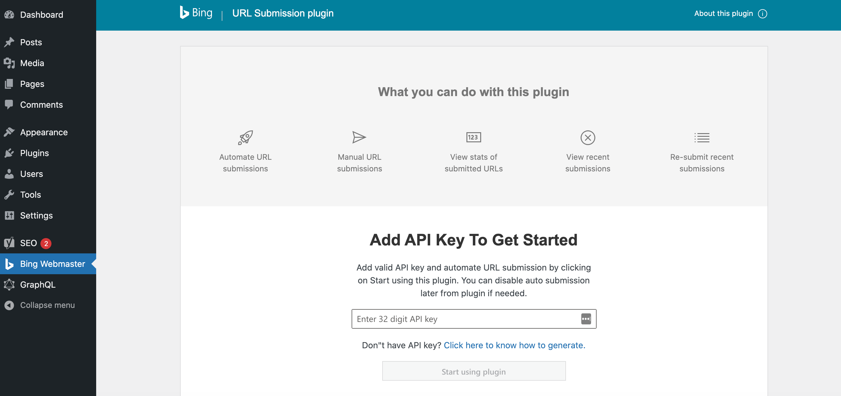 Adding an API key to the Bing URL Submission plugin.