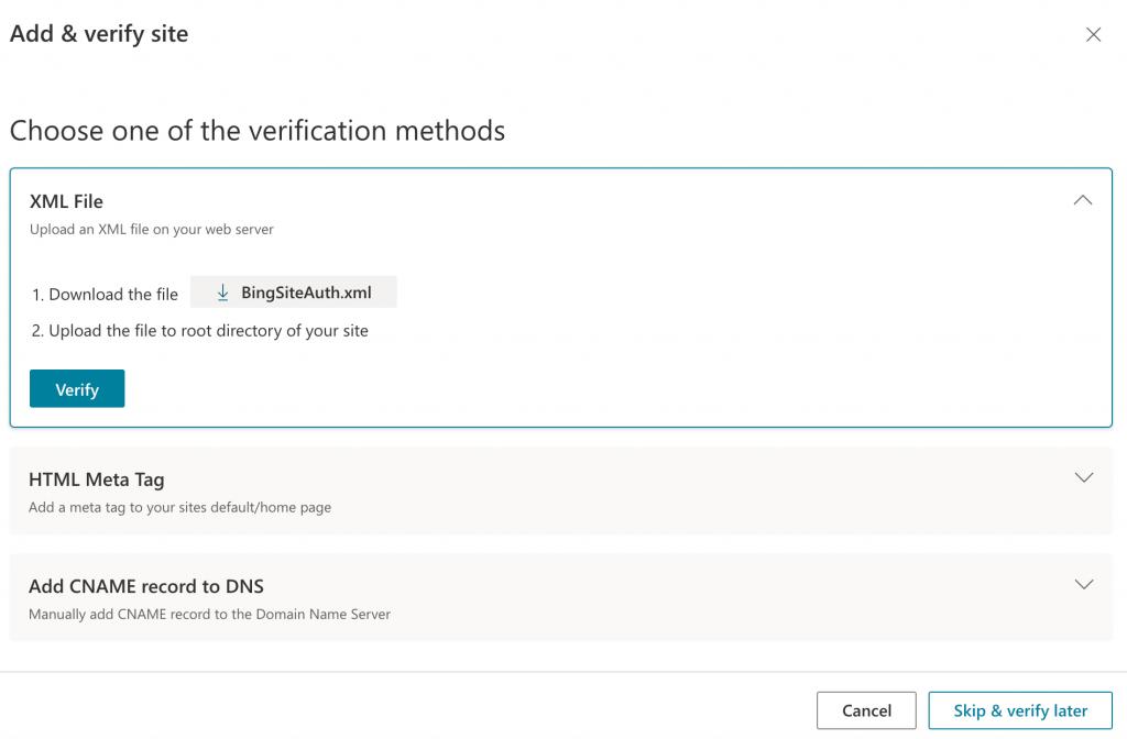 Registering your WordPress website with Bing Webmaster Tools.