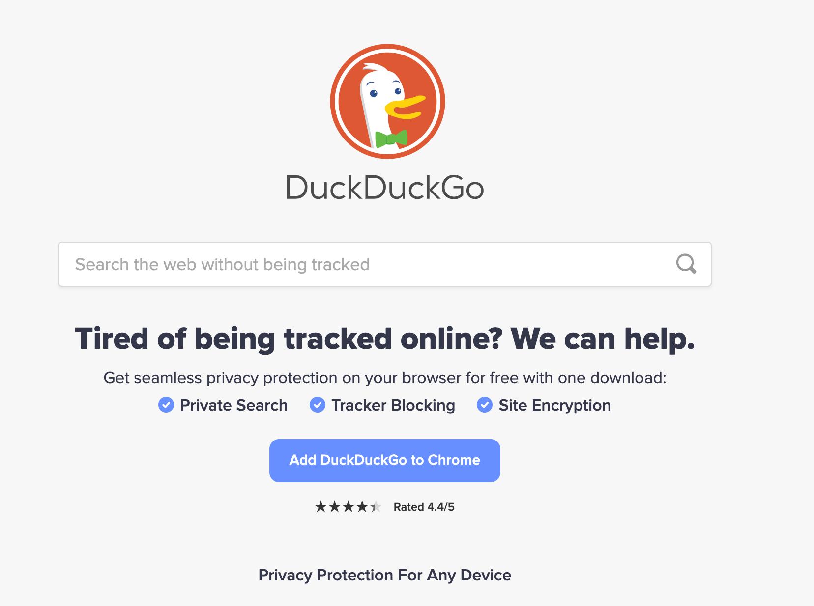 The DuckDuckGo search engine.