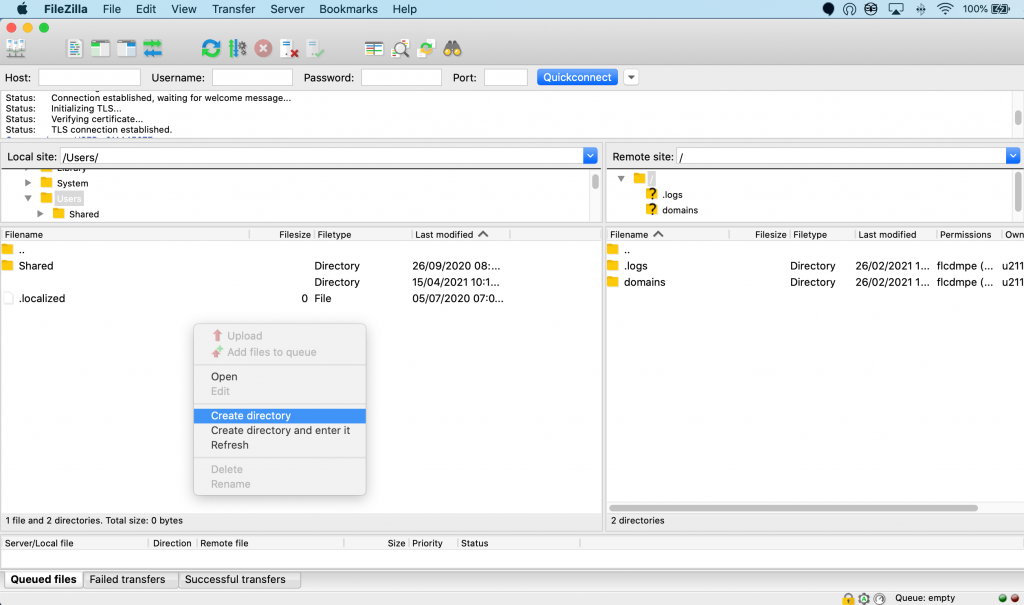 Connecting to a site using FileZilla.