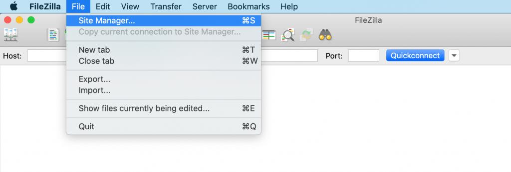 Creating manual backups using FileZilla.