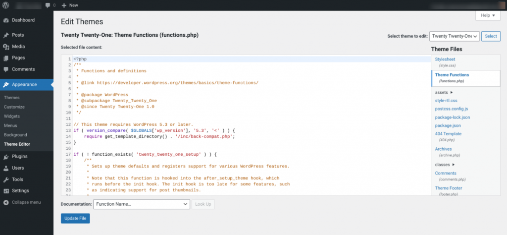 The WordPress functions.php file viewed in the Theme Editor.