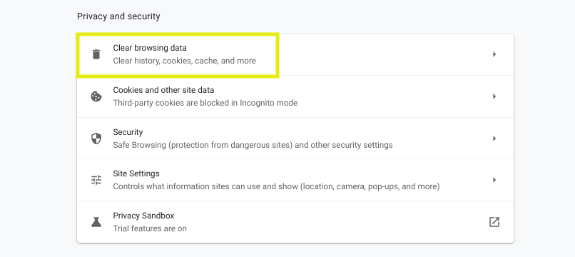 The option to clear browsing data in Chrome.