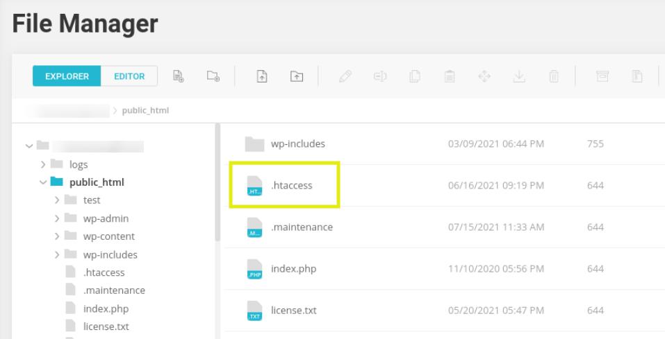 The .htaccess file via File Manager.