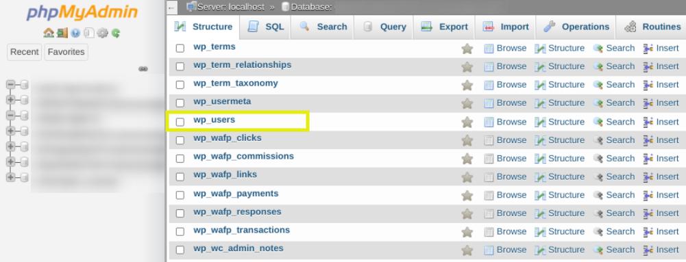 A WordPress database in phpMyAdmin.