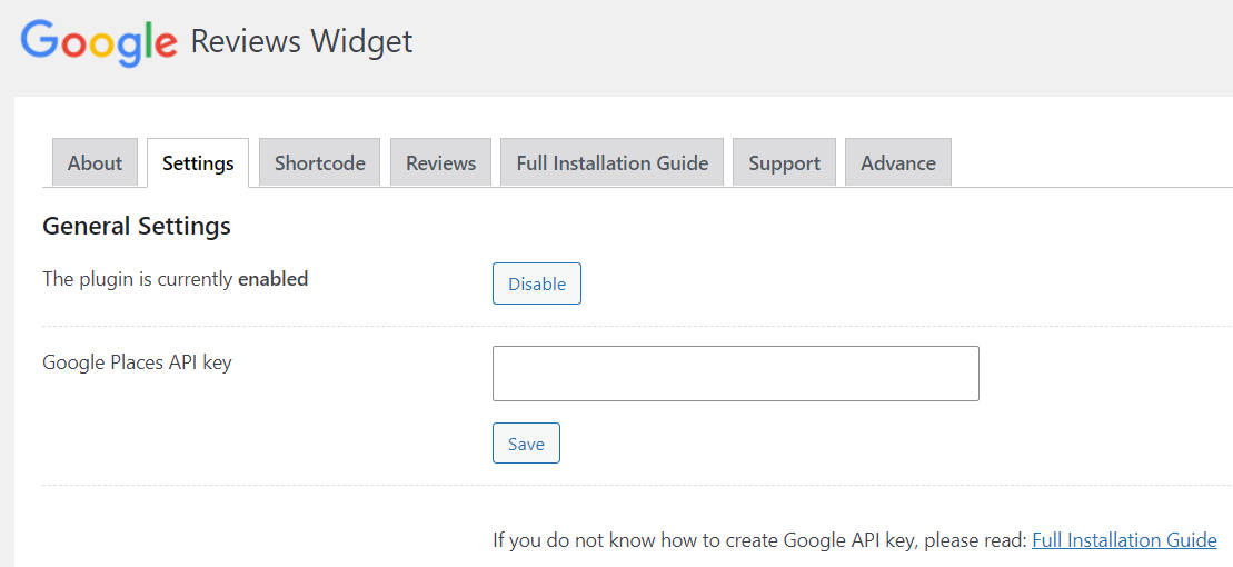 Where to paste your API key in the Google Reviews widget.