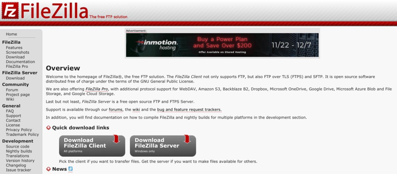 The FileZilla website.