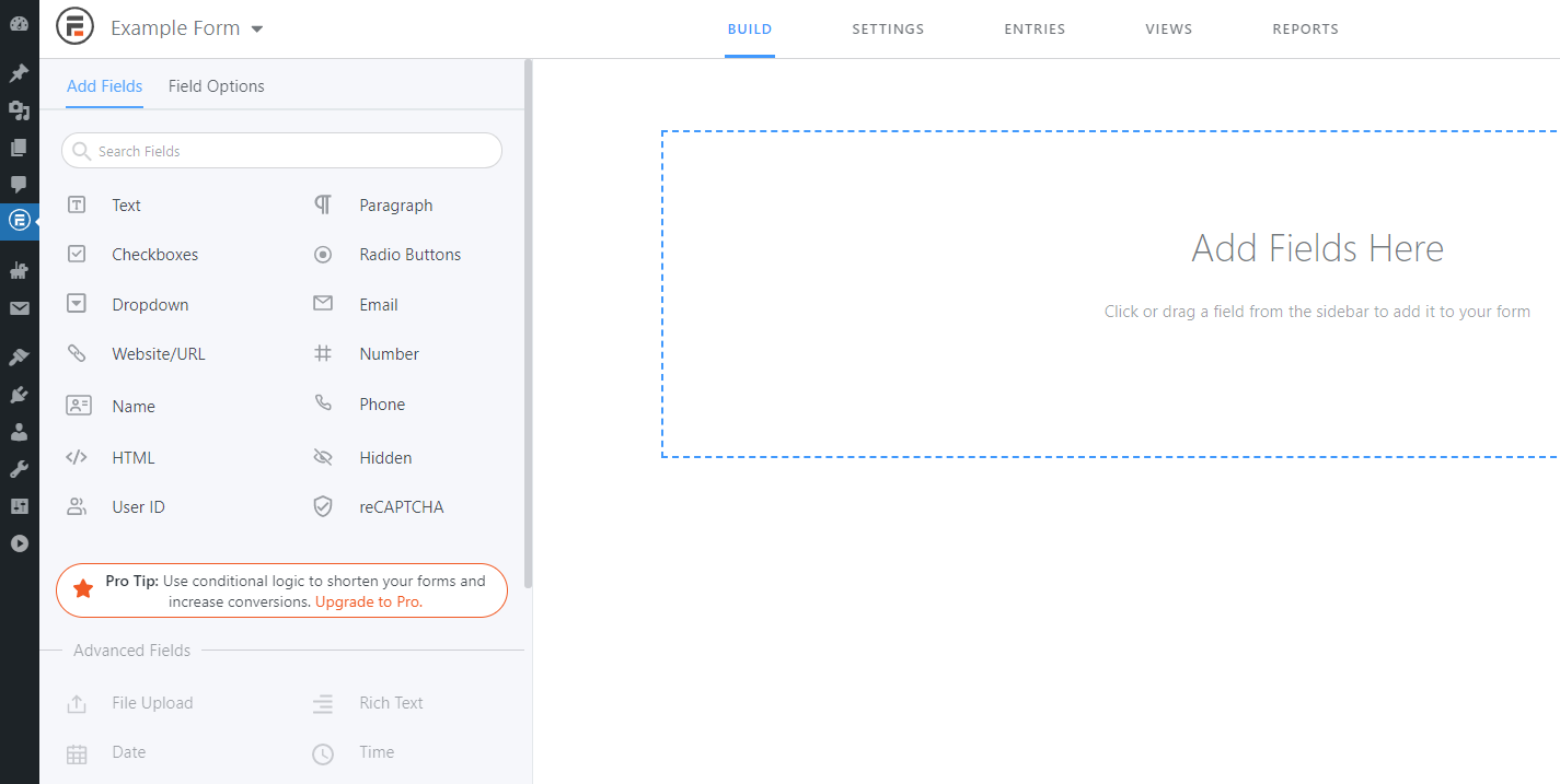 The Formbidable Forms form builder.