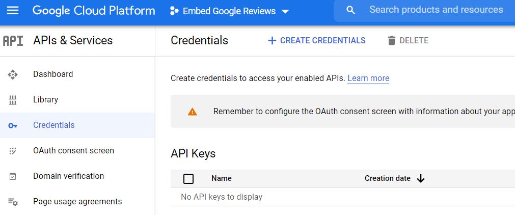 Accessing API credentials in Google Console.