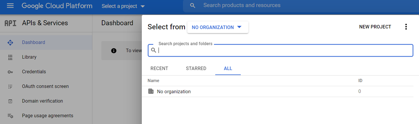 Adding a new project in the Google console.