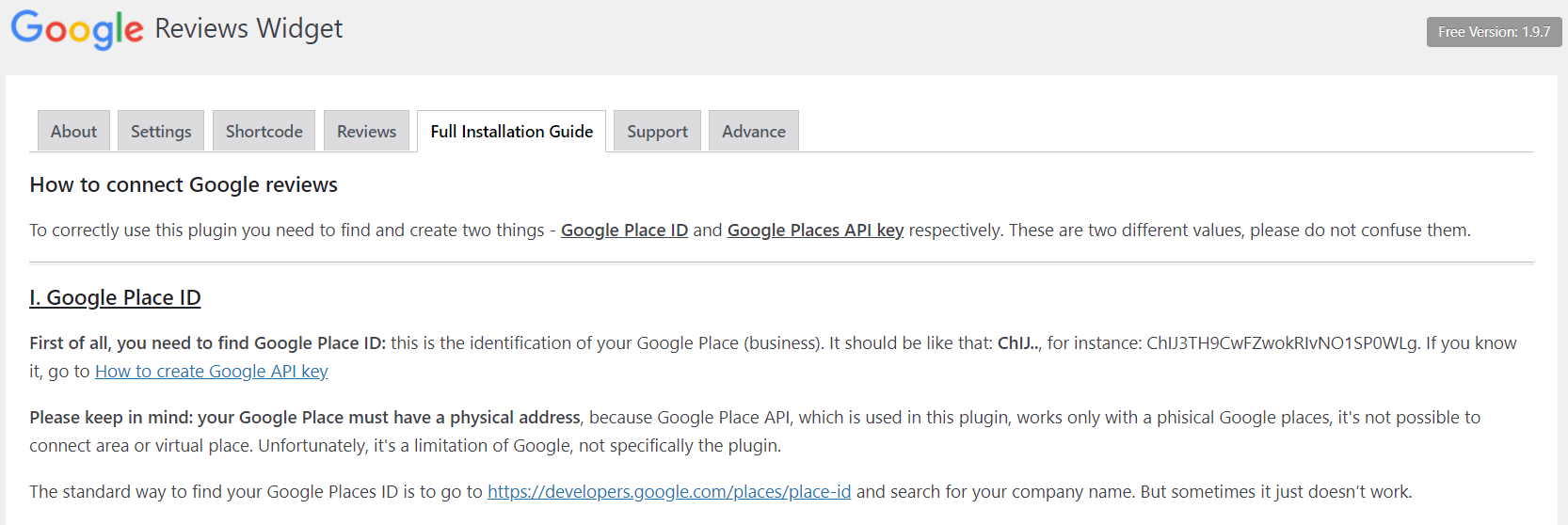 The installation guide for the Google Reviews plugin.