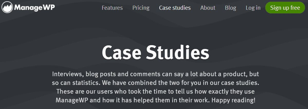 Displaying case studies and testimonials on a dedicated page.