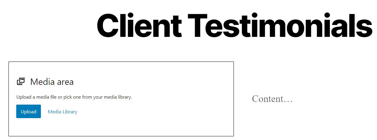 Adding client testimonials with the media and text block.