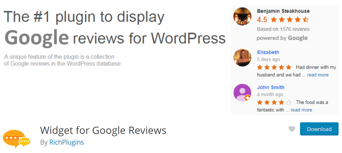 The Widget for Google Reviews plugin.